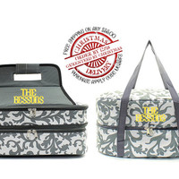 Personalized With Embroidery Grey and White Damask Print Double Casserole and Crock Pot Carrier Set With Free Monogramming