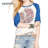 Casual Women Shirts Street Style T Shirt Three Quarter Sleeve Indiana Chief Print Colorful Tops Cotton Graphic Tops Tee SN9