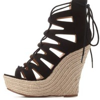 Black Lace-Up Espadrille Wedge Sandals by Charlotte Russe