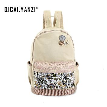 QICAI.YANZI Teen Girls Canvas Lace Floral Laptop Backpack School Casual Button Book Mochila Schoolbags Travel Shoulder Bags Z803