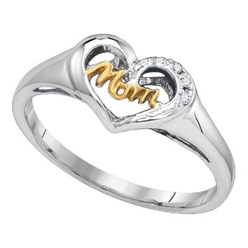 Sterling Silver Womens Round Diamond Mom Mother 2-tone Heart Ring .02 Cttw - FREE Shipping (US/CAN)