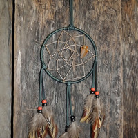 Dream Catcher 4 Inch Forest Green Deer Lace Leather Arrowhead Vibrant Feathers Native American