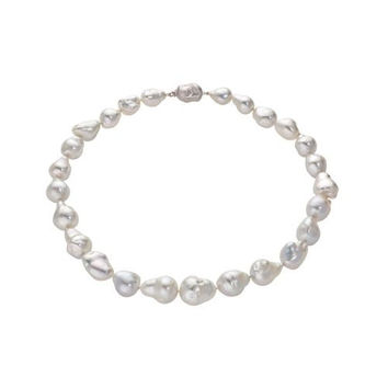 14kt White Gold South Sea Baroque Graduated Necklace