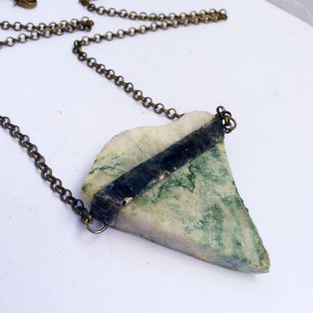 Varacite Necklace, Varasite Necklace, Soldered Crystal Pendant, Green and White Mineral, Stone Necklace, Raw Varacite Crystal Pendant