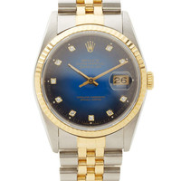Vintage Rolex Diamond Datejust In Blue Vignette With TT Jubilee Bracelet by CMT Fine Watch and Jewelry Advisors - Moda Operandi