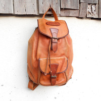 Vintage Tan Brown Leather Backpack , Vertical Backpack // Small // Unisex
