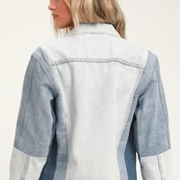 Ex-Boyfriend Sport Trucker Blue Color Block Denim Jacket