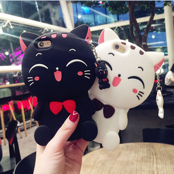 GIMFUN Kawaii 3D Cartoon Cat phone Case for iphone7 7plus for i6s 6plus 5 5s Soft Silicone Case with pendant Black White  Cover