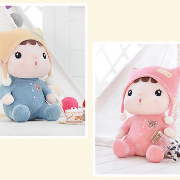 Metoo Sweet Cartoon Animal Design Toys Stuffed Babies Plush Doll for Kids Girls Birthday / Christmas Fine Gift 4 Types