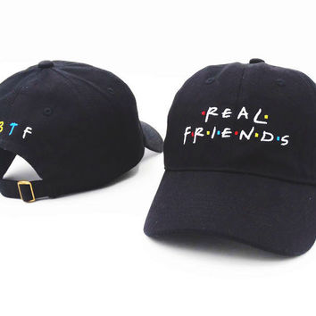 2796300147e23 Brand Embroidery Real Friends Tv Show Baseball Cap Hip Hop Women Men  Adjustable Denim Black Dad