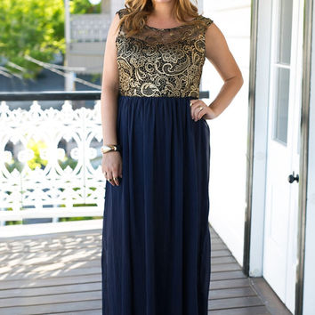 Metallic Gold Lace Chiffon Long Dress
