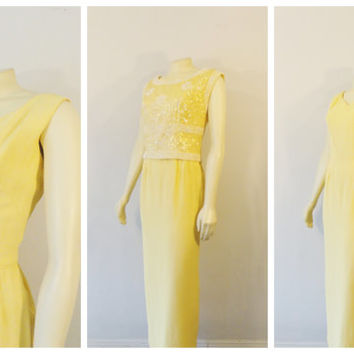 Vintage Dress 60s Yellow & White 2 Piece Dress Beaded Sequin Rhinestone Encrusted Shirt and Simple Formal Dress Modern size Medium
