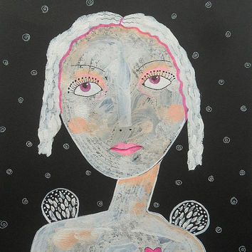 Pretty Angel Art - Angel Drawing - Nude Angel Art - Girl Face - Nude girl - Female Nude - Primitive Portrait - Nude Female - Angel Portrait