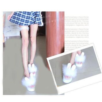 So Kawaii Japanese Style Lolita Girl Rabbit Bunny Ear Plush Shoes Wedge Platform Thong Flip Flop Slippers