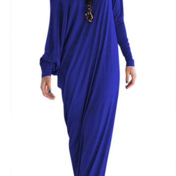 Blue Drop Shoulder Side Split Long Sleeve Party Dress