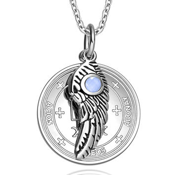 Archangel Raphael Sigil Amulet Magic Powers Angel Wing Charm Sky Blue Cats Eye Pendant 22 Inch Necklace