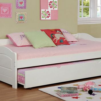 Sunset collection traditional style low profile style white finish wood day bed with trundle