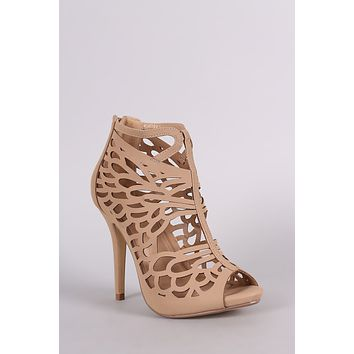 Nubuck Butterfly Wing Cutout Caged Stiletto Heel