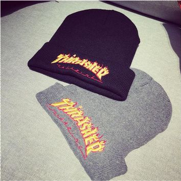 Cozy Thrasher Winter Couple Alphabet Embroidery Stylish Hats