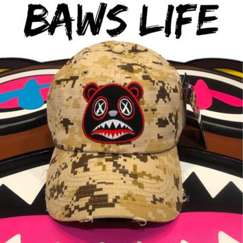 Bred Baws Desert Digi Camo Distressed Dad Hat