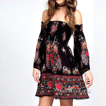 Ethnic Floral Printed Backless Silk Mini Swing Dresses