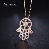 NEWBARK Hamsa Pendant Necklaces For Women Rose Gold Plated Silver Color CZ Diamond Chain Jewelry Love Christmas Gifts