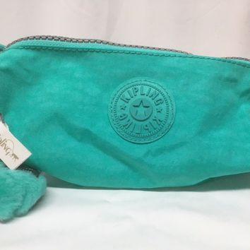 NEW Kipling Authentic Freedom Pen Cosmetic Bag Breezy Turquoise Keychain