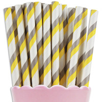 Yellow & Gray Double Stripe Paper Straws