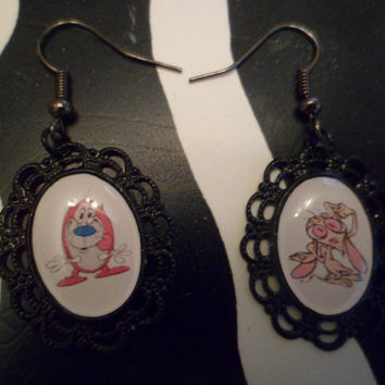 Ren & Stimpy cameo earrings