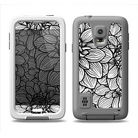 The White and Black Flower Illustration Samsung Galaxy S5 LifeProof Fre Case Skin Set