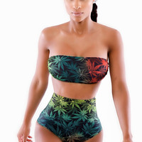 Multi Color Floral Print High Waisted Bandeau Bathing Suit
