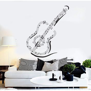 Vinyl Wall Decal Guitar Music Notes Musical Art Stickers Mural Unique Gift (ig4606)