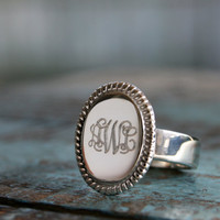 Sterling Monogram Ring, Sterling Silver Ring, ID Jewelry, Engraved Jewelry