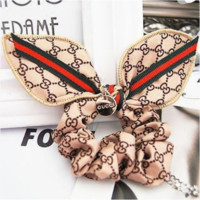 GUCCI Classic Women Red Green Striped Rabbit Ear Headband Headdress Hair Ring(3-Color) Beige