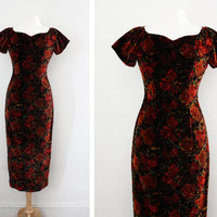 """Vintage """"Femme Fatale"""" Velvet Textured Rose Print Wiggle Dress - Floral Print Maxi Dress with Sweetheart Neckline - Size Small to Medium"""