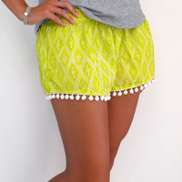 Cute Patterned Pom Pom Shorts - Loose Fit bright Yellow Pom Pom 1970's gym shorts.