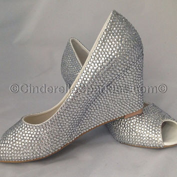 Peeptoe Crystal Rhinestone Wedge Court Heels - Bridal Prom Romany Party Shoes