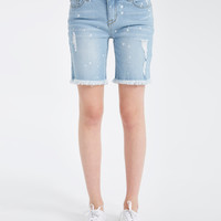 Blue Asphalt Paint Splatter Denim Boyfriend Shorts | Wet Seal
