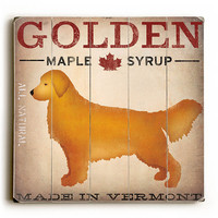 Personalized Golden Dog at Show by Artist Ryan Fowler Planked Wood Sign Wall Decor Art