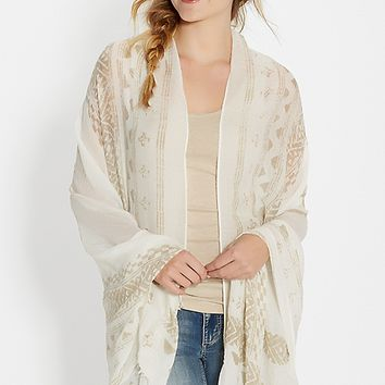 lightweight scarf wrap in ethnic print with raw edges in tan | maurices