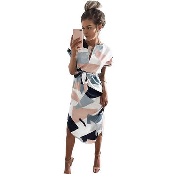 Women Pencil  Dress Summer Dress Geometric Multi-Color Mid-Calf Length Stand Collar Novelty 2017 Party Dresses Vestidos Mujer