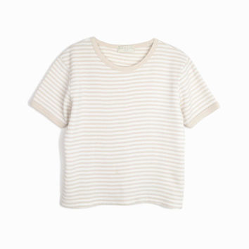 Vintage 90s Striped Waffle Knit Tee in White & Tan / Cropped Ribbed Top - women's medium/large