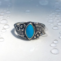 Vintage Blue Turquoise Marquise Ring, Soutwestern Floral Turquoise Ring