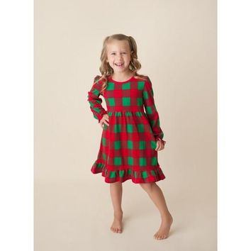 2018 Girl's Christmas Plaid Long Sleeve Ruffle Empire Waist Dress