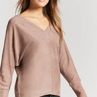 Ribbed Dolman-Sleeve Top