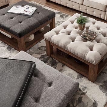 Lennon Pine Square Storage Ottoman Coffee Table by TRIBECCA HOME   Overstock.com Shopping - The Best Deals on Coffee, Sofa & End Tables