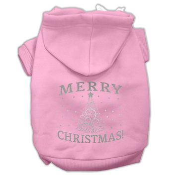 Shimmer Christmas Tree Pet Hoodies Light Pink Size XS (8)