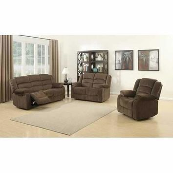 Bill 3 Piece Contemporary Brown Reclining Living Room Set