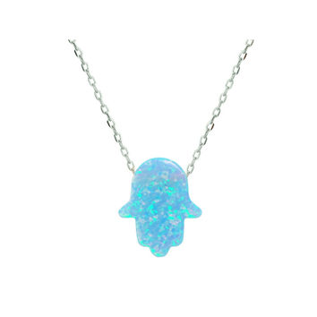 Fronay Light Blue Created Opal Hamsa Hand Pendant Necklace with Sterling Silver Chain