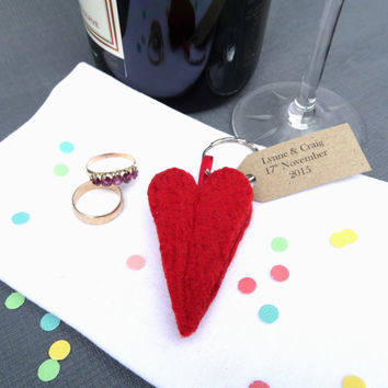 Red Love Heart Key ring, wool felt made in Scotland, perfect for wedding favours
